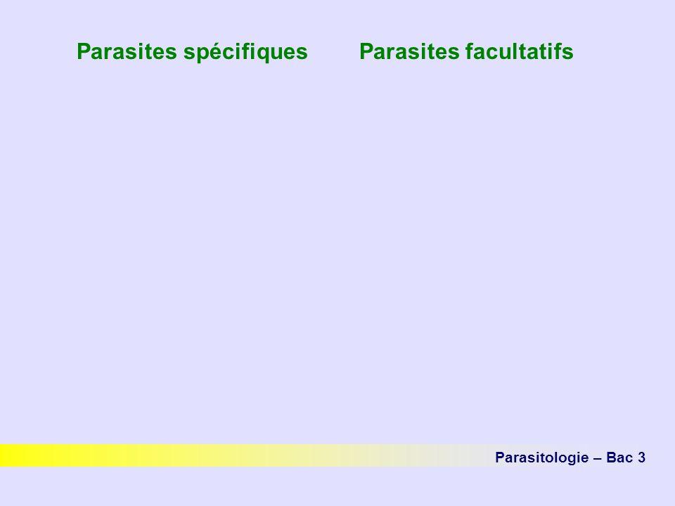 Parasites spécifiques Parasites facultatifs