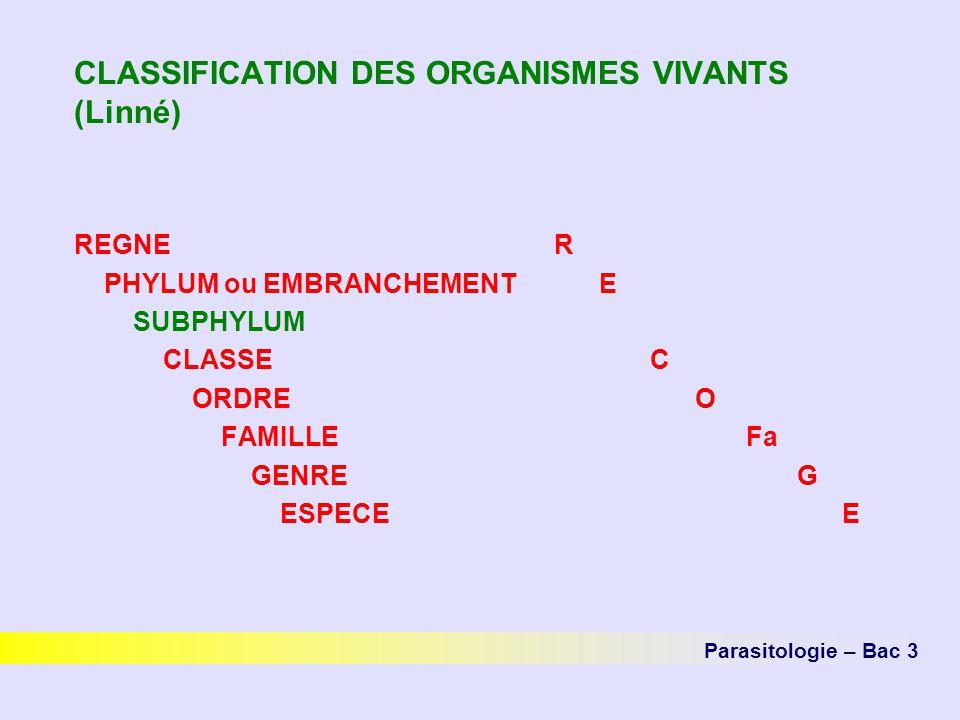 CLASSIFICATION DES ORGANISMES VIVANTS (Linné)