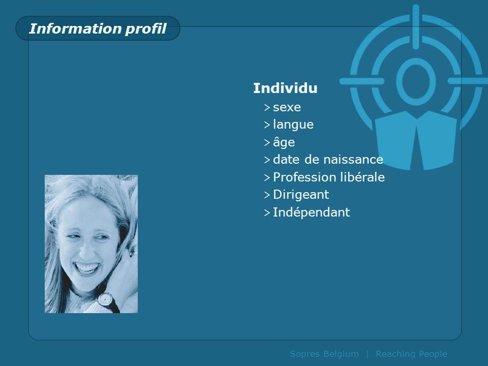 Information profil Individu sexe langue âge date de naissance