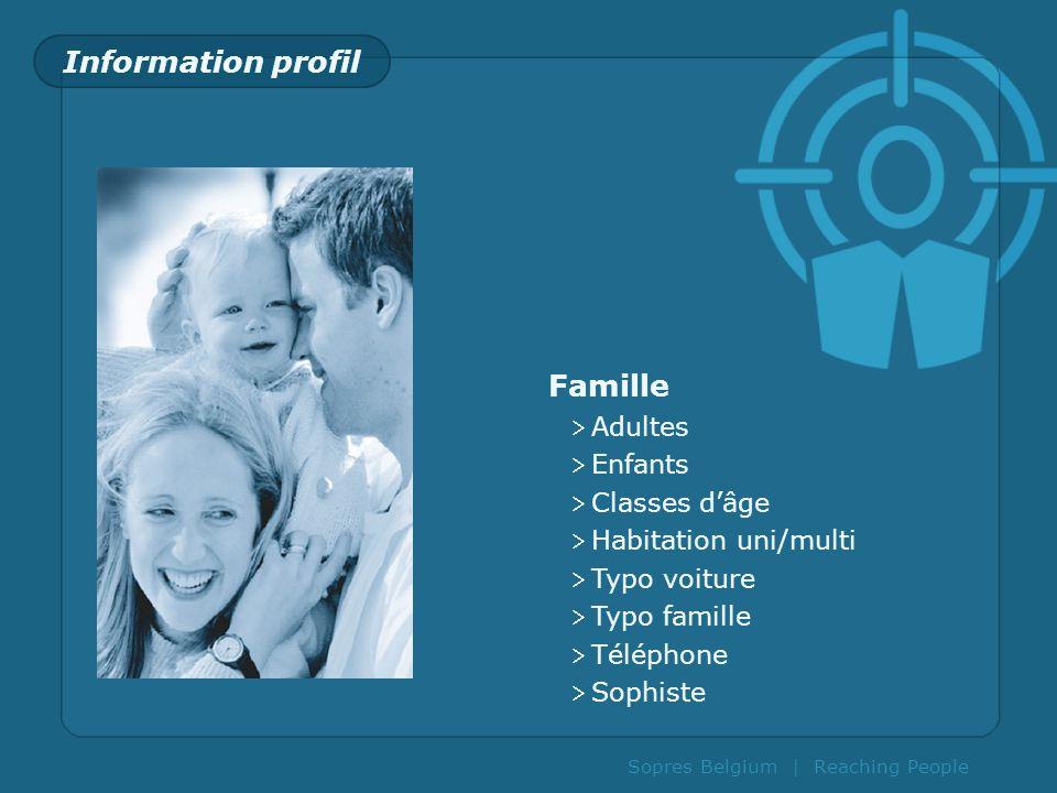 Information profil Famille Adultes Enfants Classes d'âge