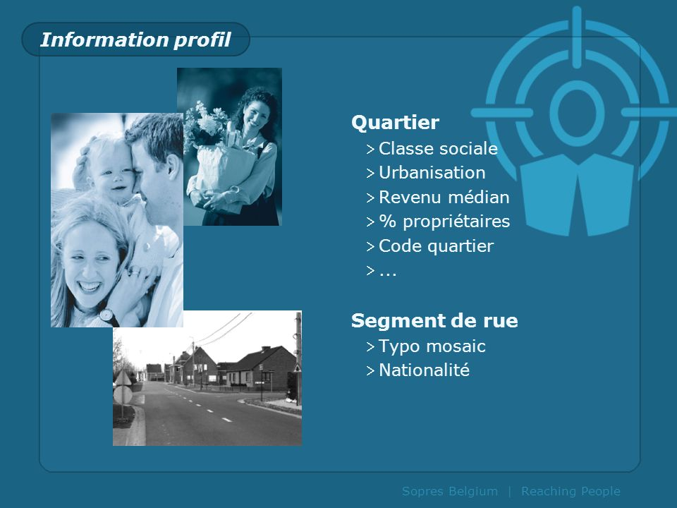 Information profil Quartier Segment de rue Classe sociale Urbanisation