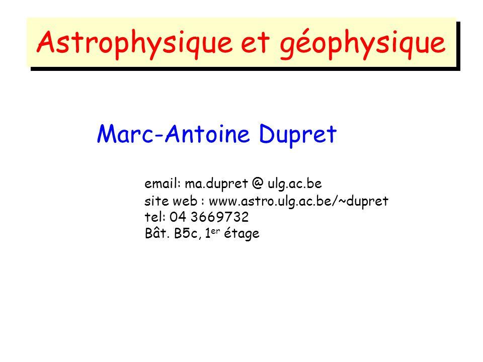 Astrophysique et géophysique