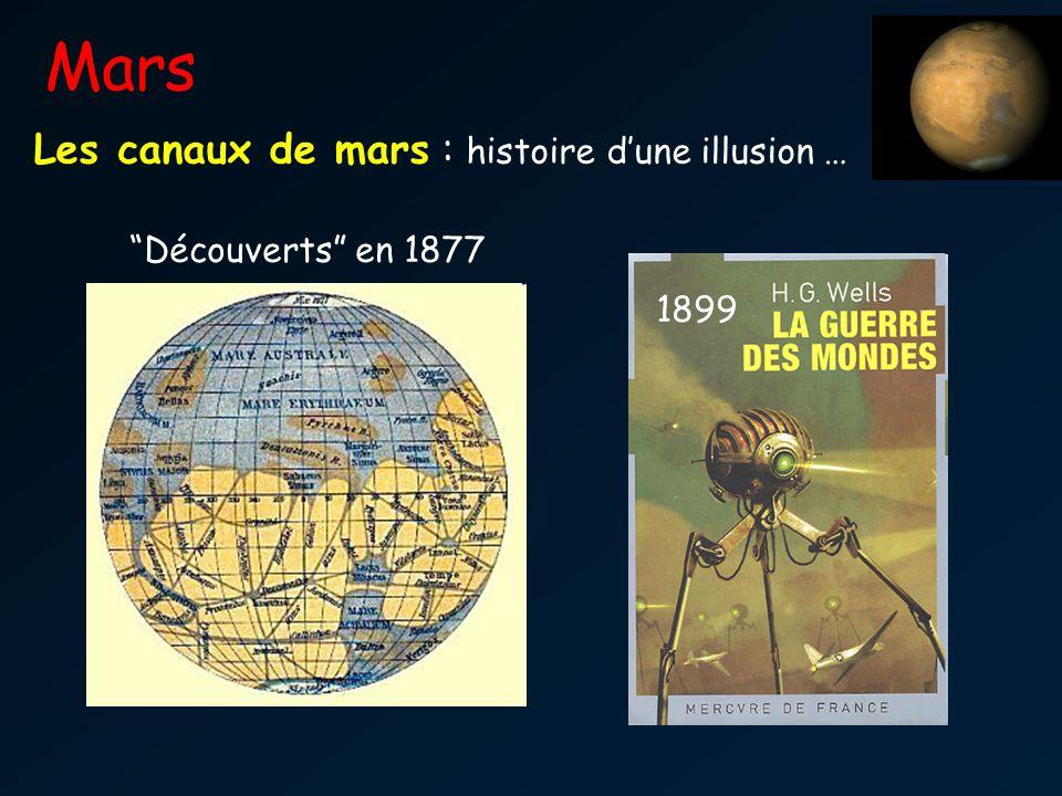 Mars Les canaux de mars : histoire d'une illusion … Découverts en 1877 1899 Vie par le passé