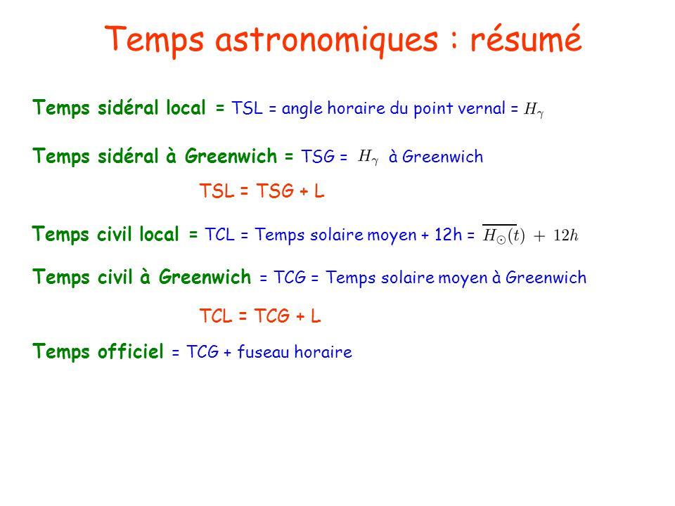 Temps astronomiques : résumé