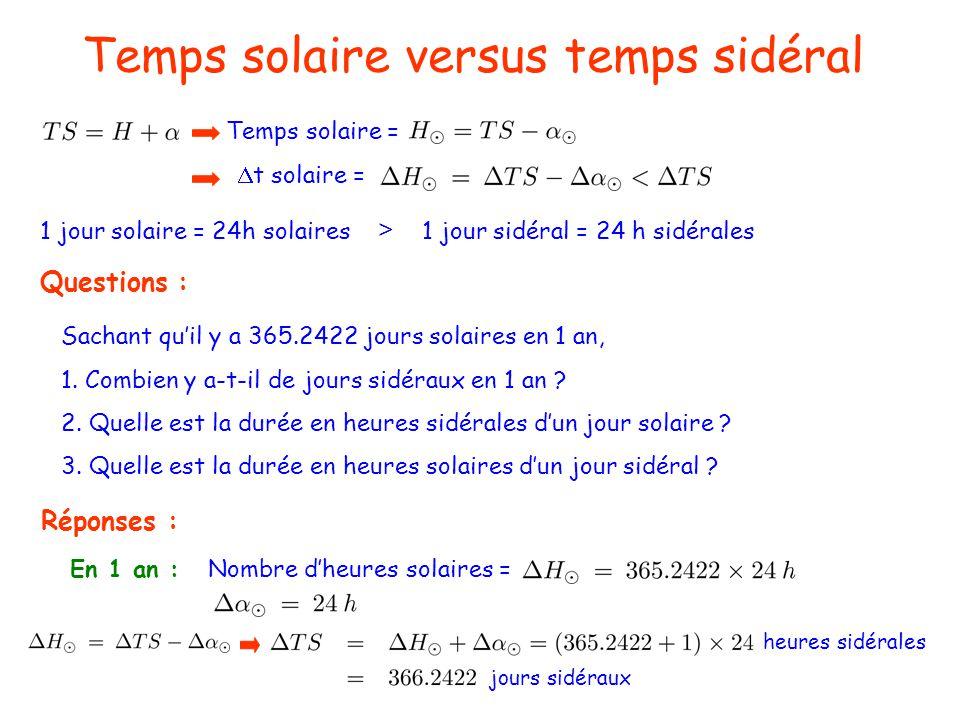 Temps solaire versus temps sidéral