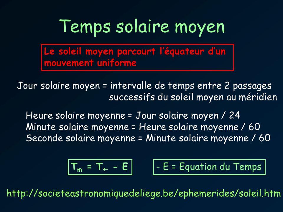 Temps solaire moyen Le soleil moyen parcourt l'équateur d'un