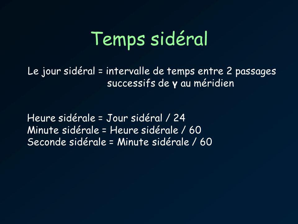 Temps sidéral Le jour sidéral = intervalle de temps entre 2 passages