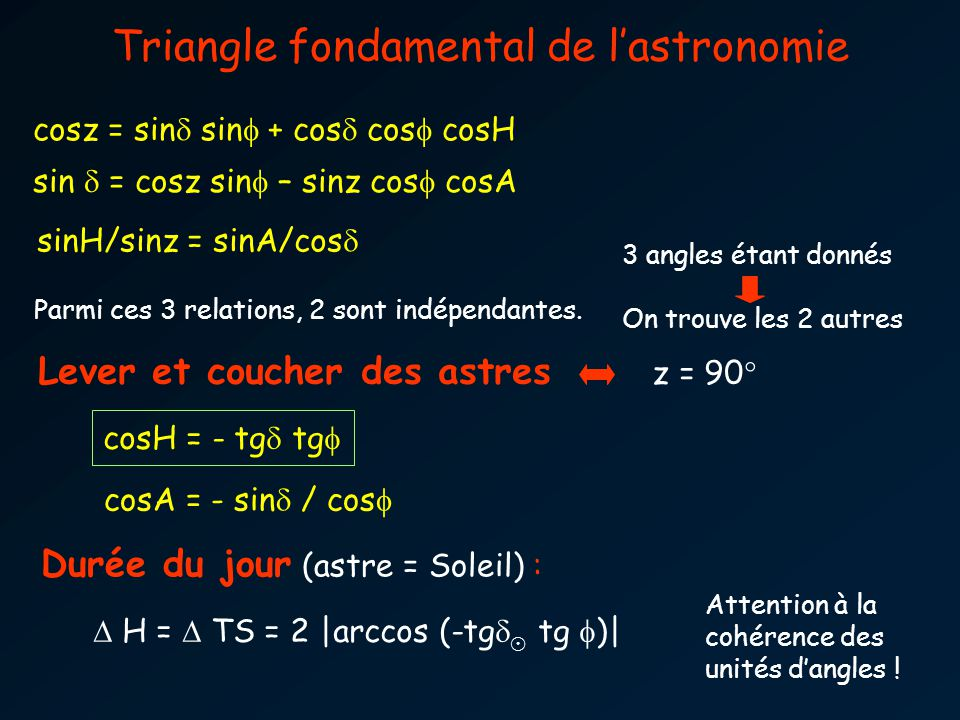 Triangle fondamental de l'astronomie