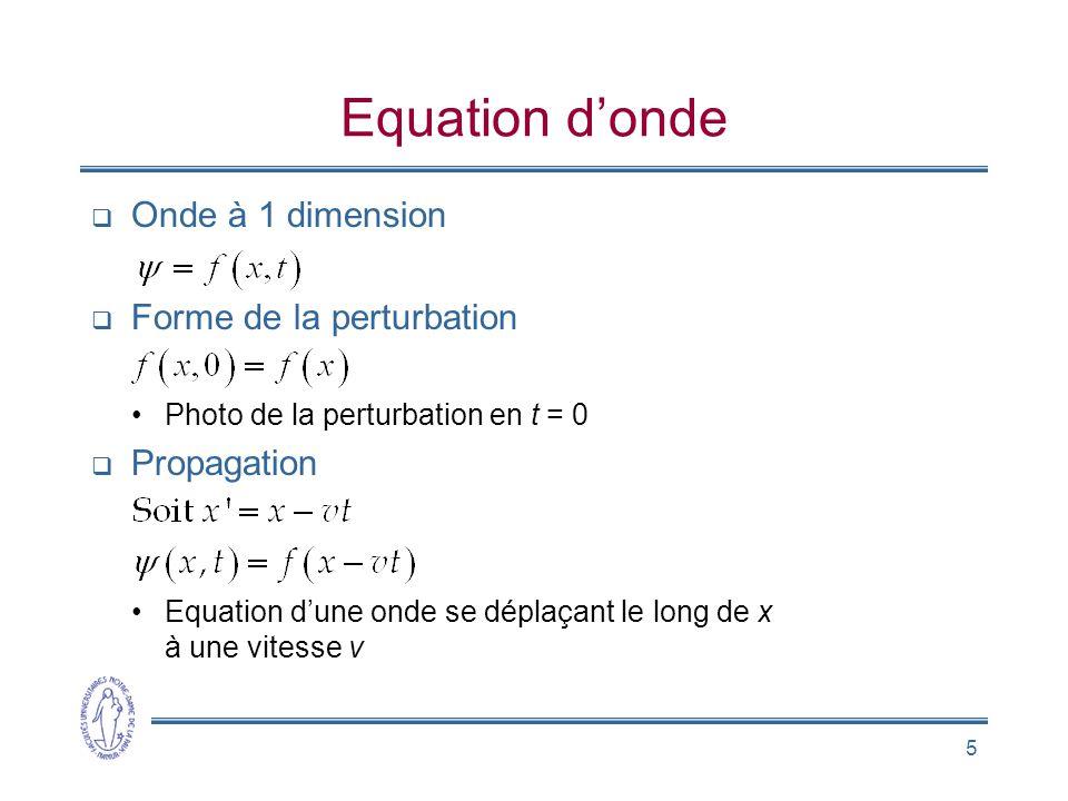 Equation d'onde Onde à 1 dimension Forme de la perturbation