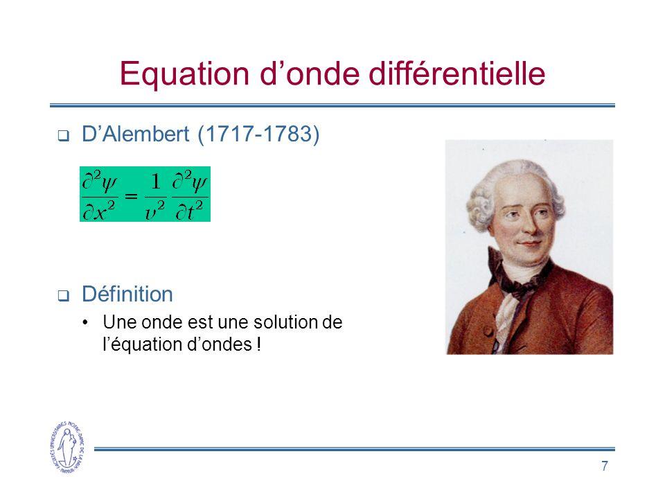 Equation d'onde différentielle