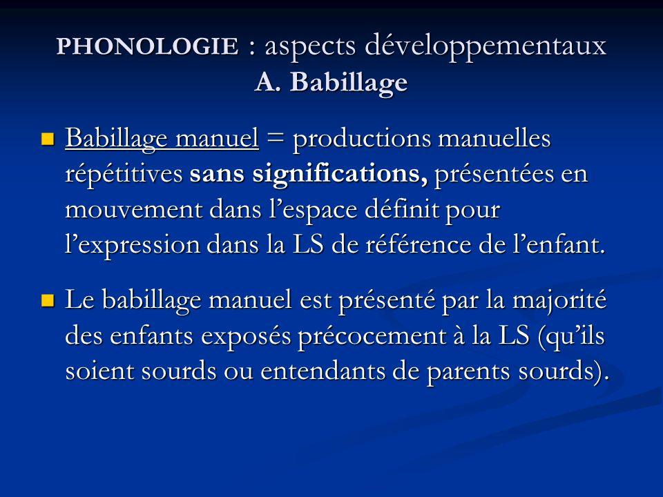 PHONOLOGIE : aspects développementaux A. Babillage