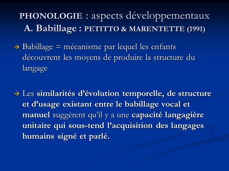 PHONOLOGIE : aspects développementaux A
