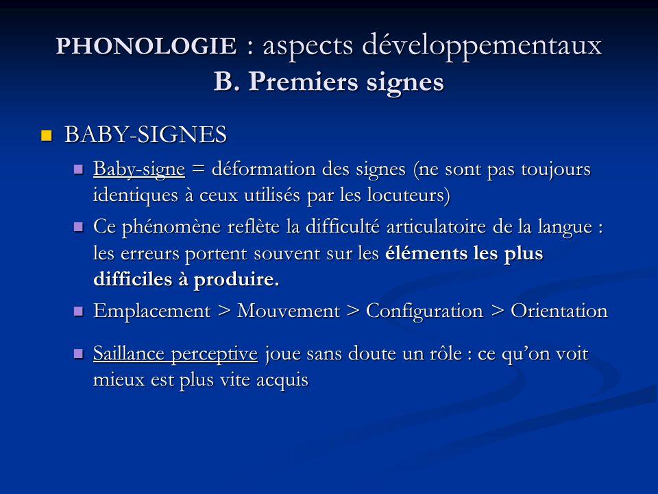PHONOLOGIE : aspects développementaux B. Premiers signes