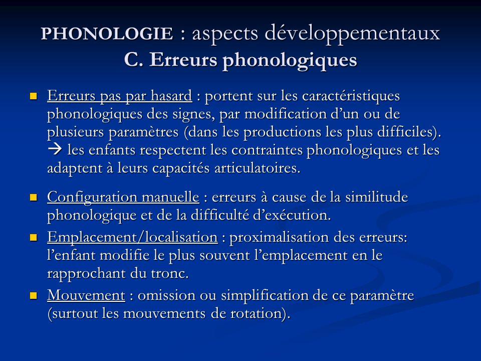 PHONOLOGIE : aspects développementaux C. Erreurs phonologiques