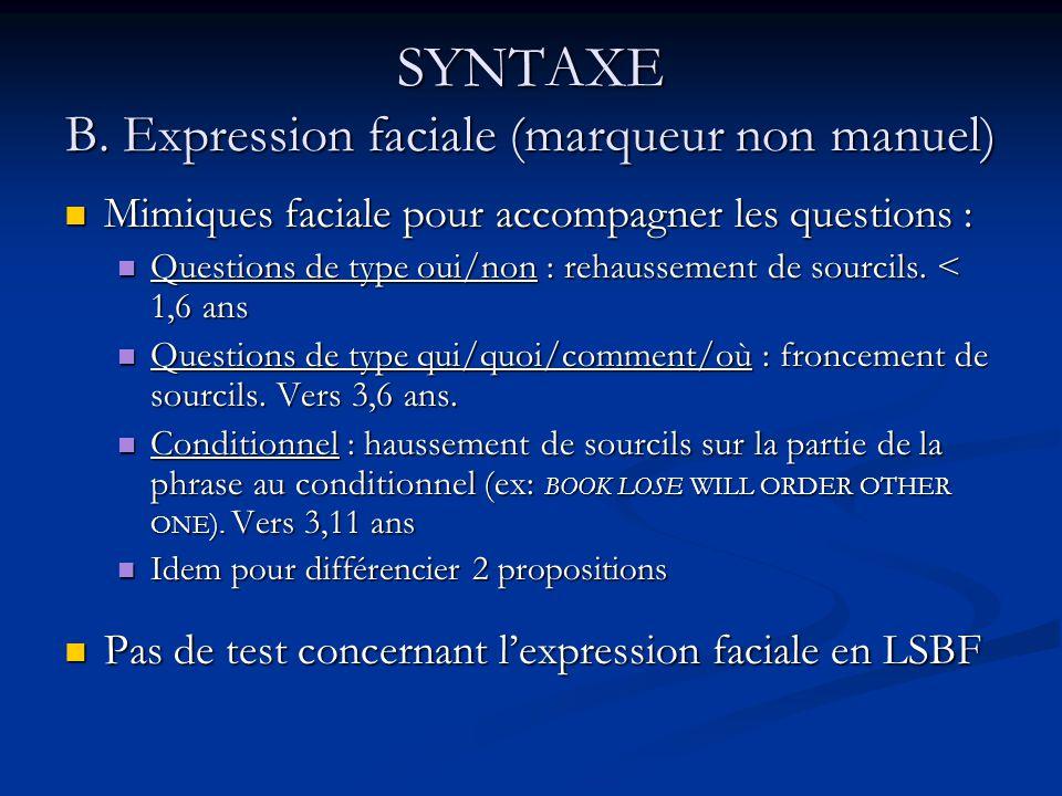 SYNTAXE B. Expression faciale (marqueur non manuel)