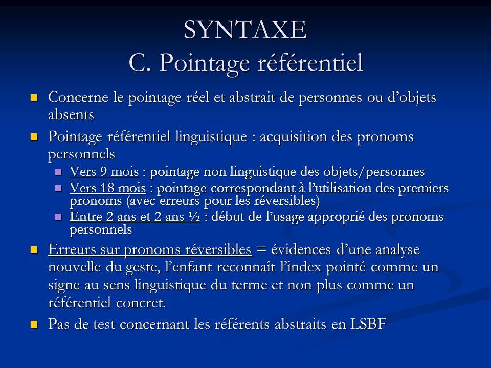 SYNTAXE C. Pointage référentiel