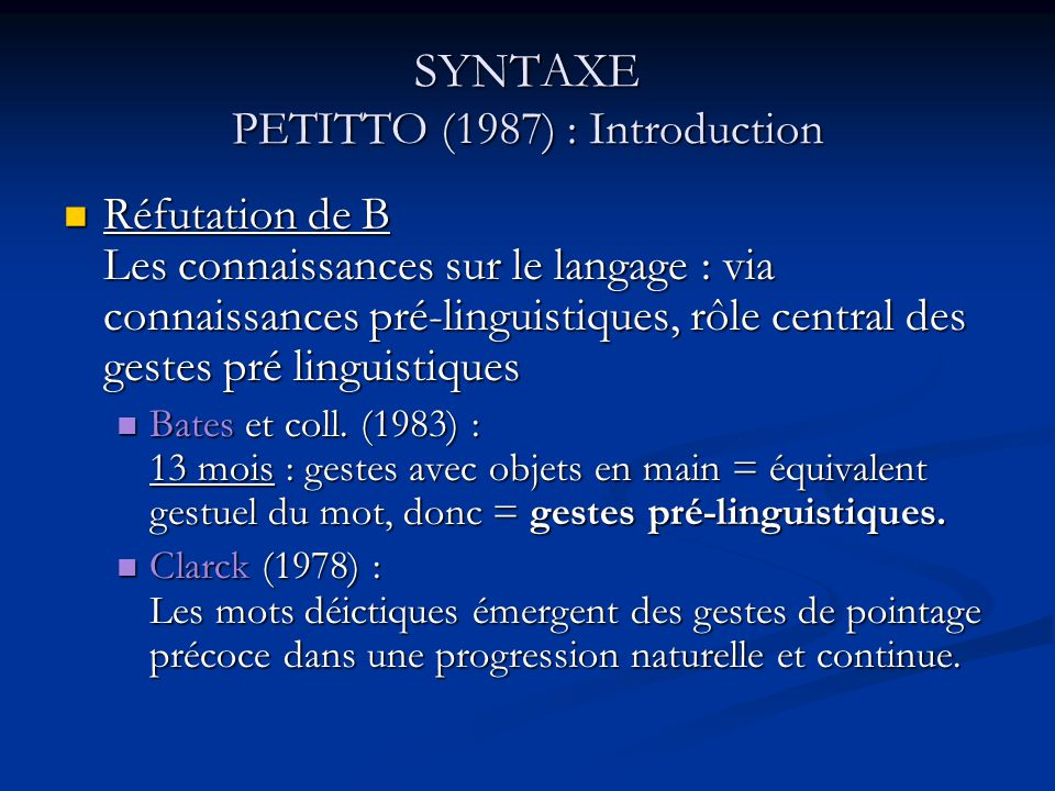 SYNTAXE PETITTO (1987) : Introduction