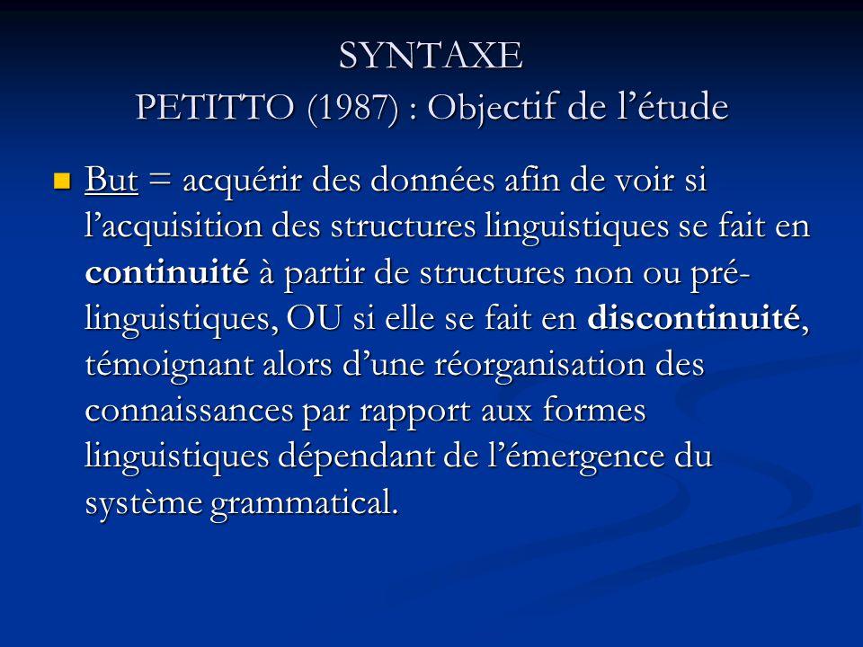 SYNTAXE PETITTO (1987) : Objectif de l'étude