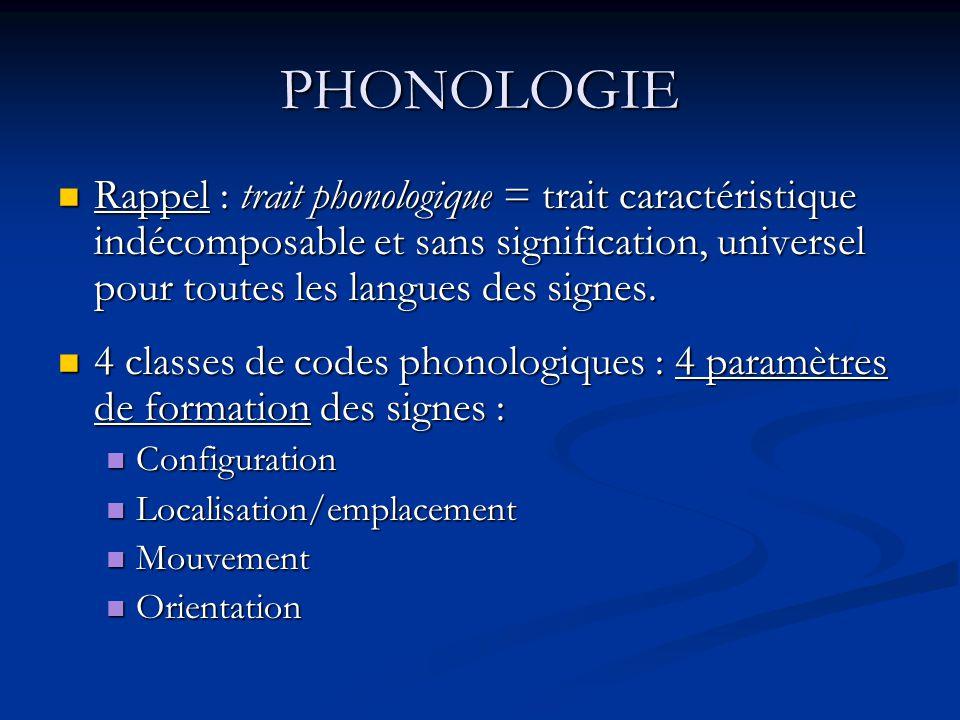 PHONOLOGIE Rappel : trait phonologique = trait caractéristique indécomposable et sans signification, universel pour toutes les langues des signes.