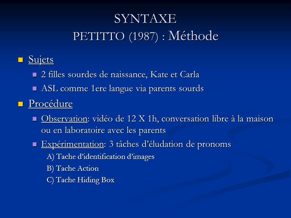 SYNTAXE PETITTO (1987) : Méthode