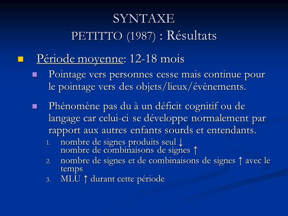 SYNTAXE PETITTO (1987) : Résultats