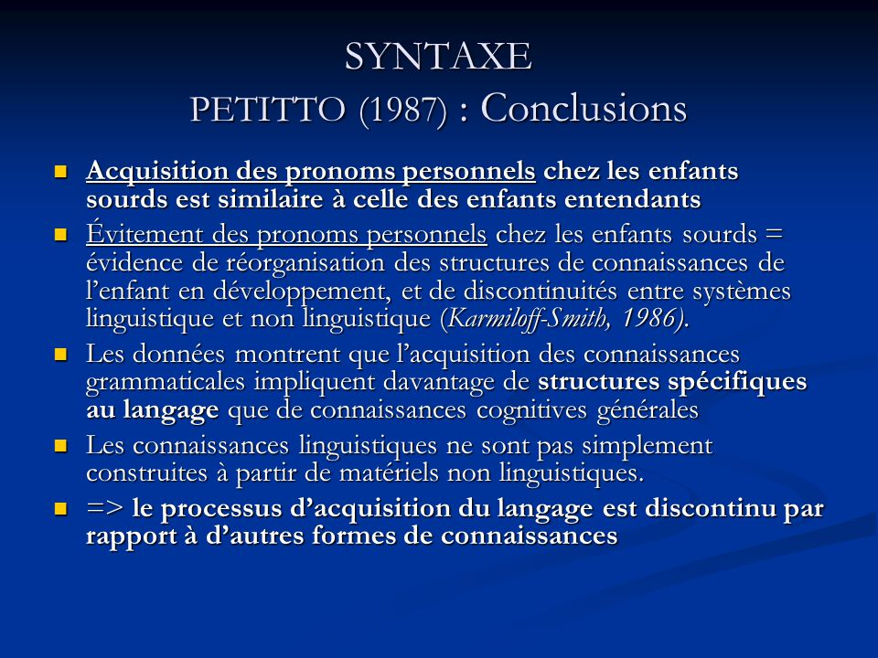 SYNTAXE PETITTO (1987) : Conclusions