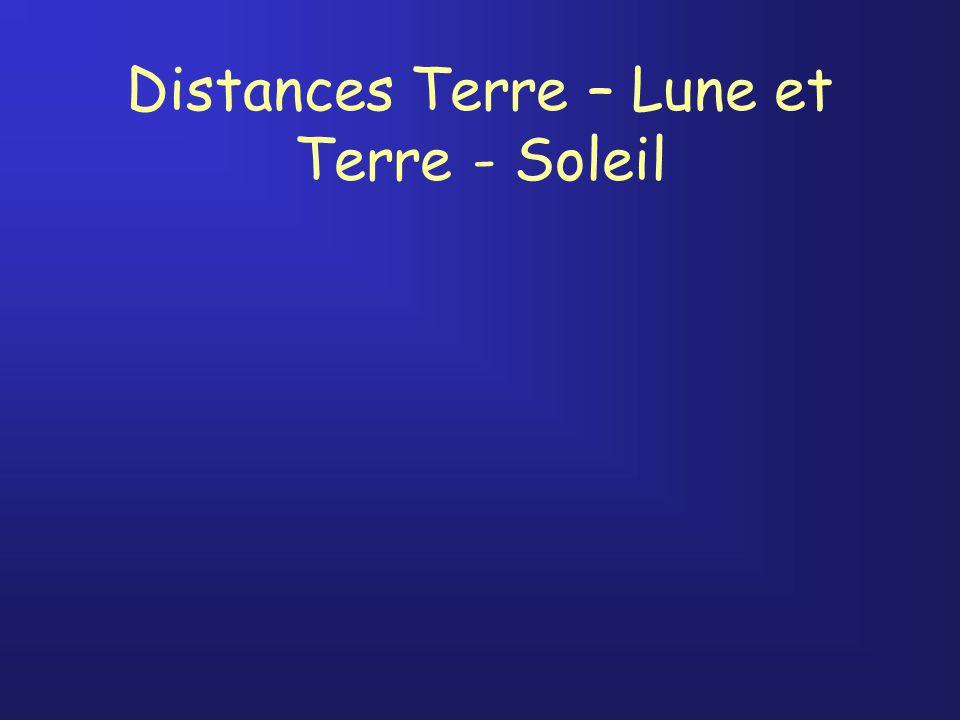 Distances Terre – Lune et Terre - Soleil