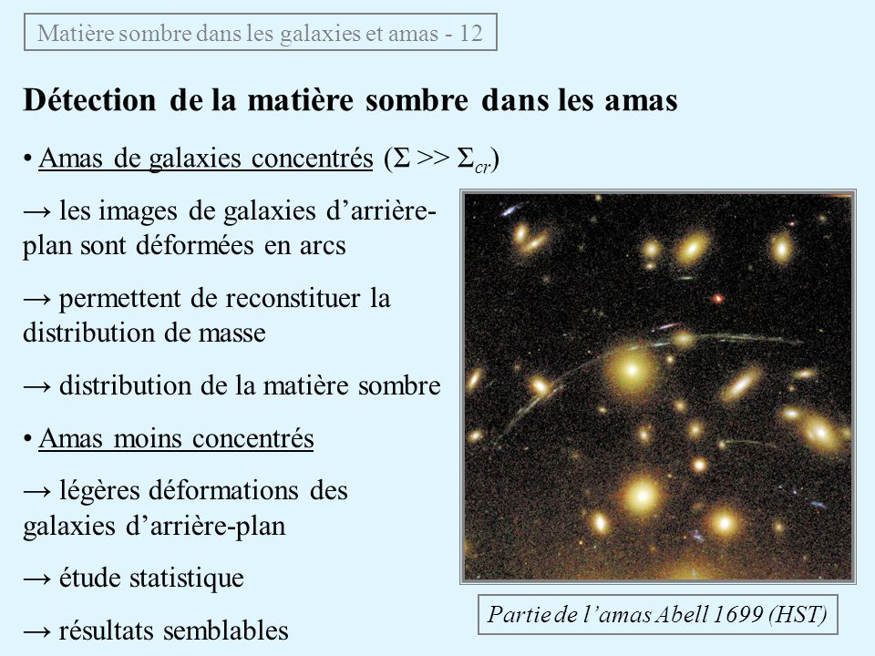 Matière sombre dans les galaxies et amas - 12