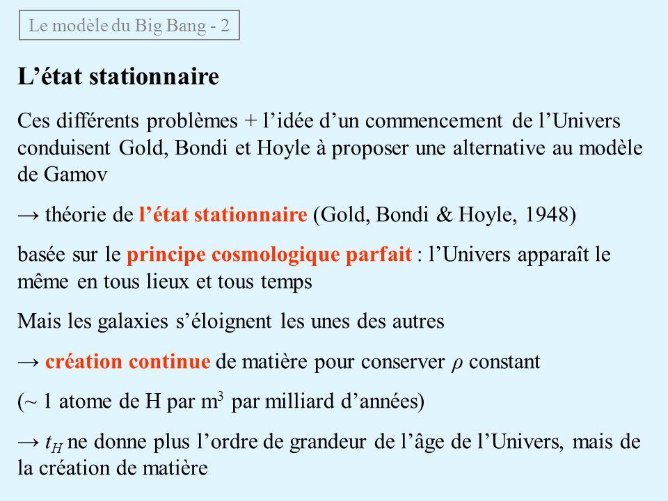 Le modèle du Big Bang - 2 L'état stationnaire.