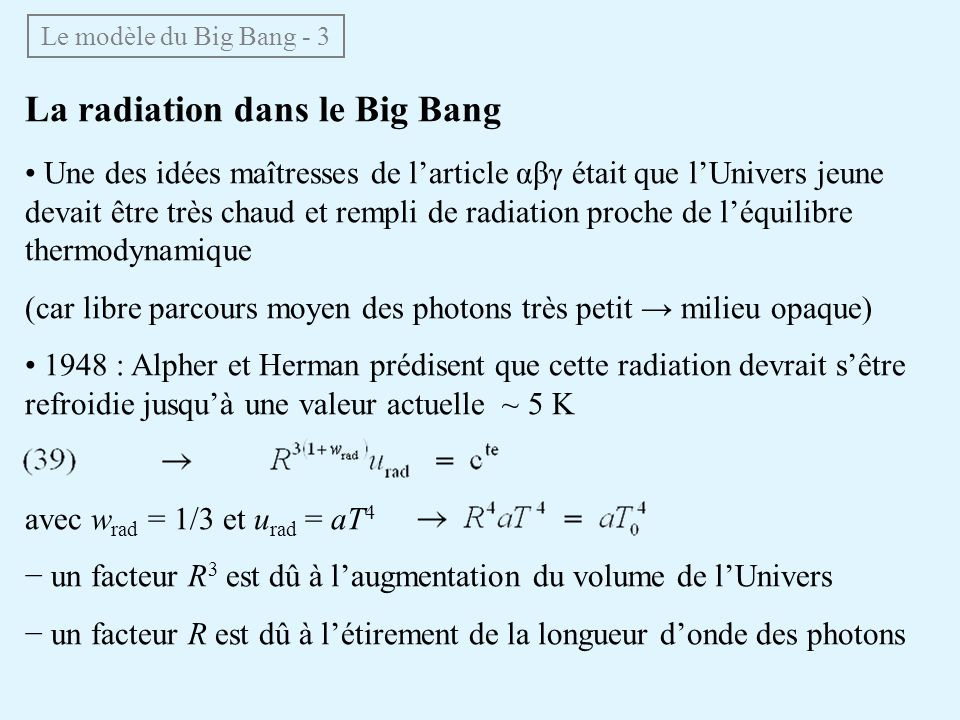 La radiation dans le Big Bang