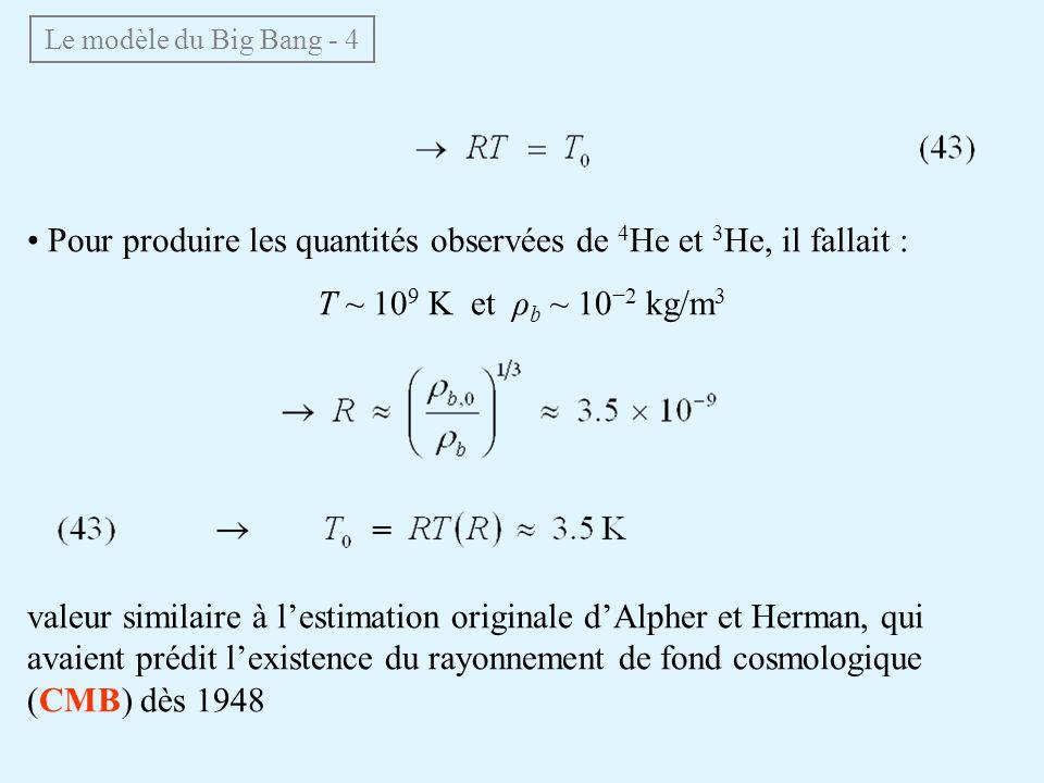 • Pour produire les quantités observées de 4He et 3He, il fallait :