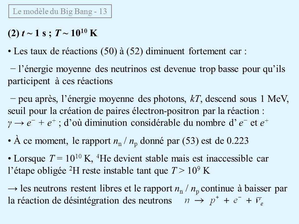 • Les taux de réactions (50) à (52) diminuent fortement car :