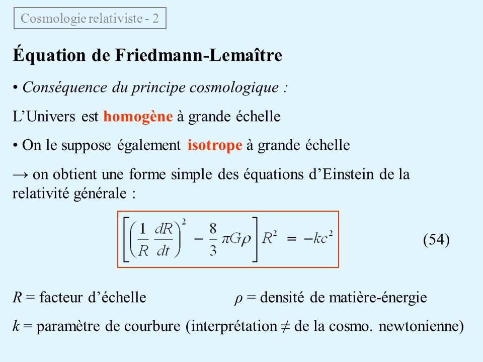 Cosmologie relativiste - 2