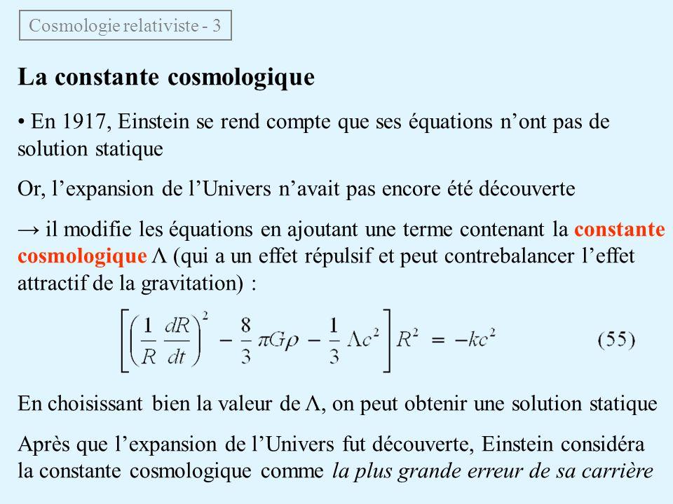 Cosmologie relativiste - 3