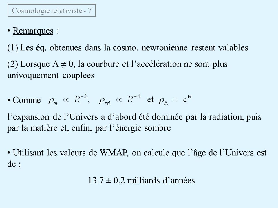 Cosmologie relativiste - 7