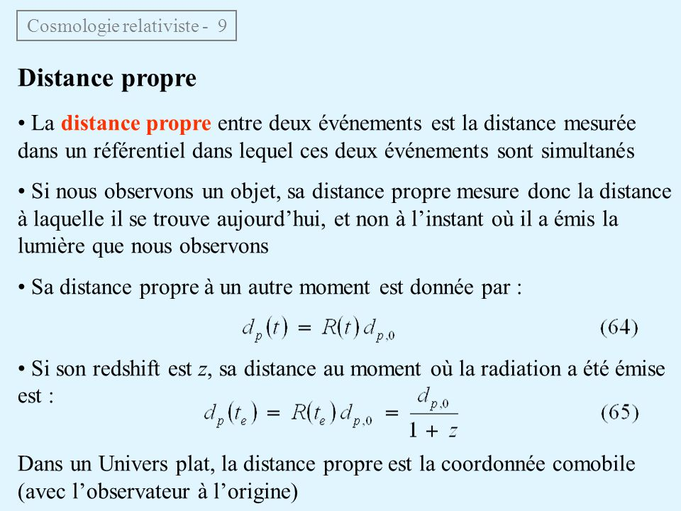 Cosmologie relativiste - 9