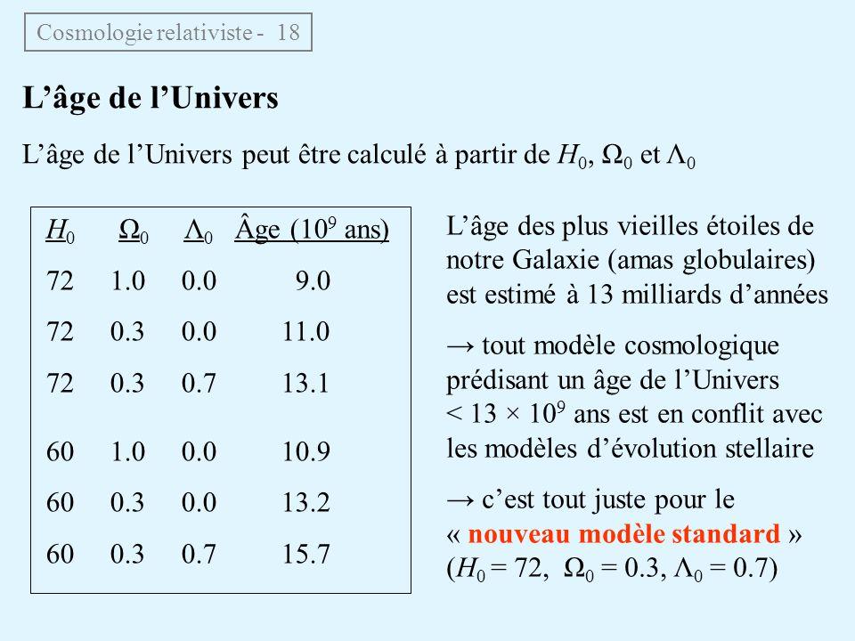 Cosmologie relativiste - 18