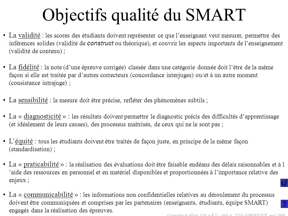 Objectifs qualité du SMART
