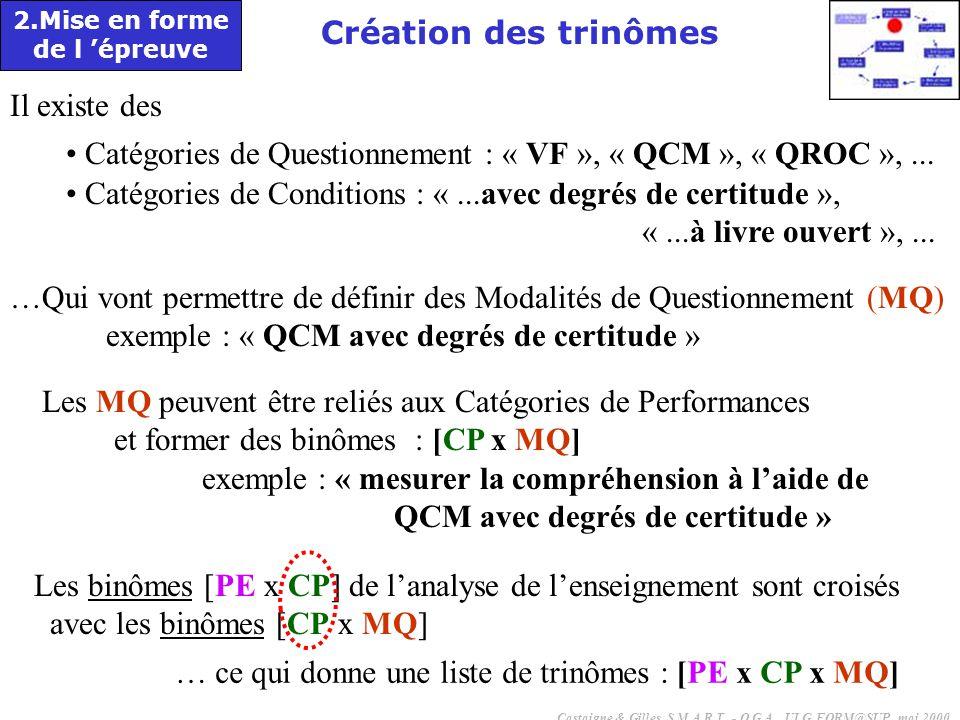 Catégories de Questionnement : « VF », « QCM », « QROC », ...