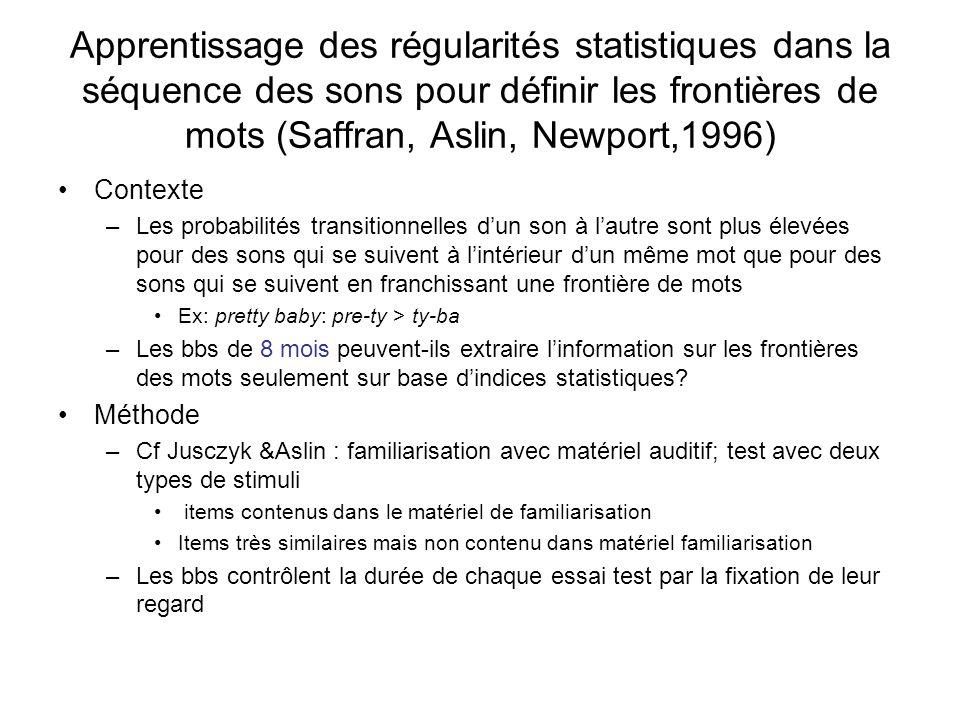 Apprentissage des régularités statistiques dans la séquence des sons pour définir les frontières de mots (Saffran, Aslin, Newport,1996)