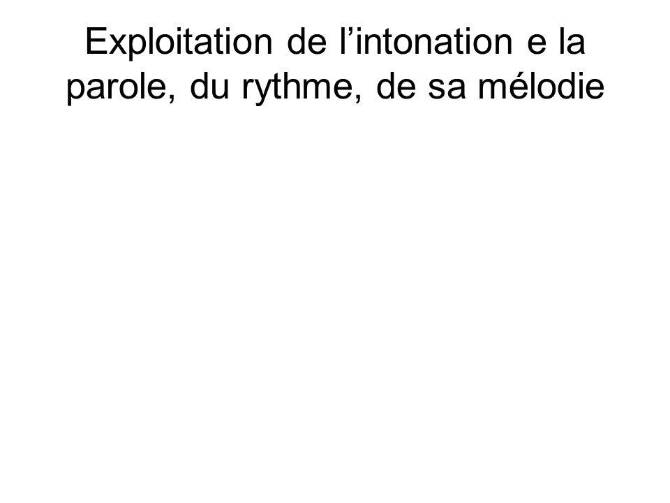 Exploitation de l'intonation e la parole, du rythme, de sa mélodie