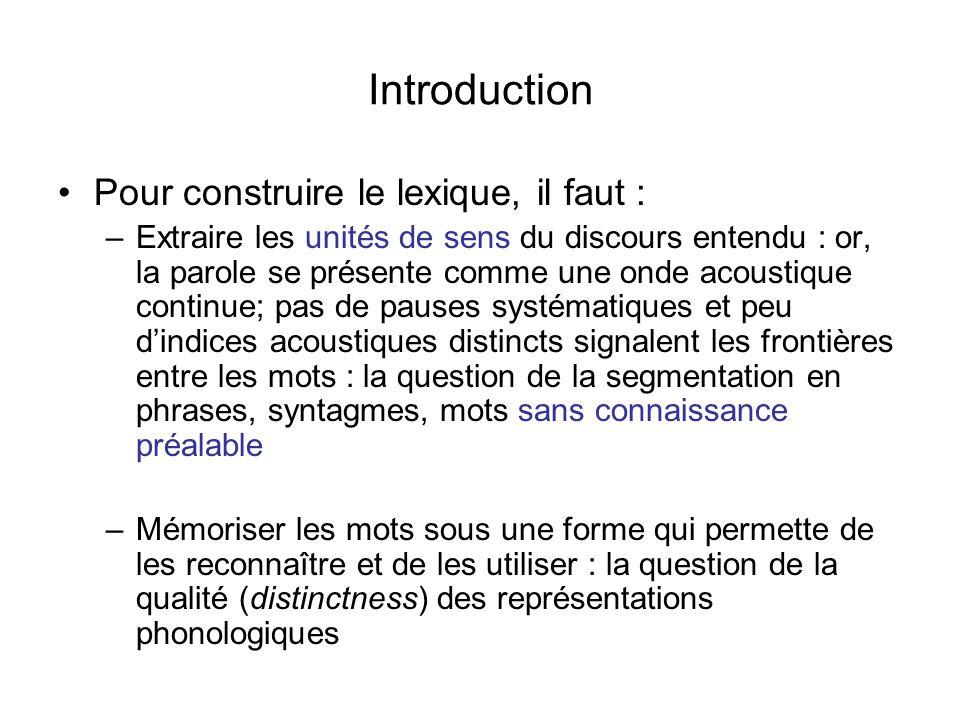 Introduction Pour construire le lexique, il faut :