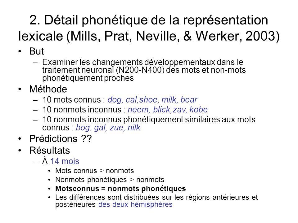 2. Détail phonétique de la représentation lexicale (Mills, Prat, Neville, & Werker, 2003)