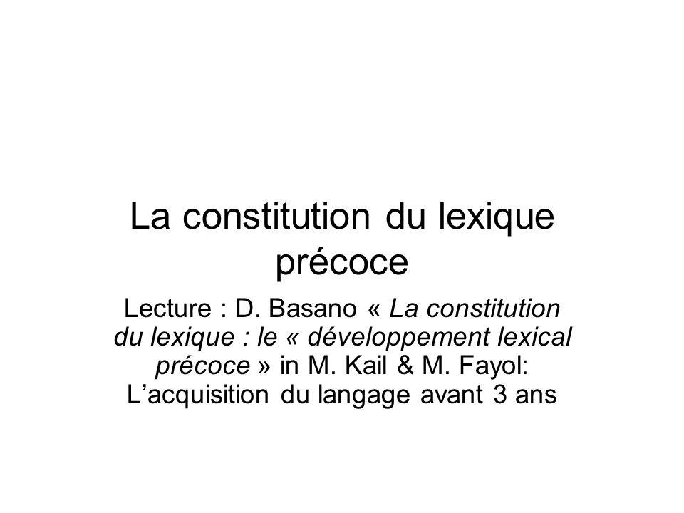 La constitution du lexique précoce