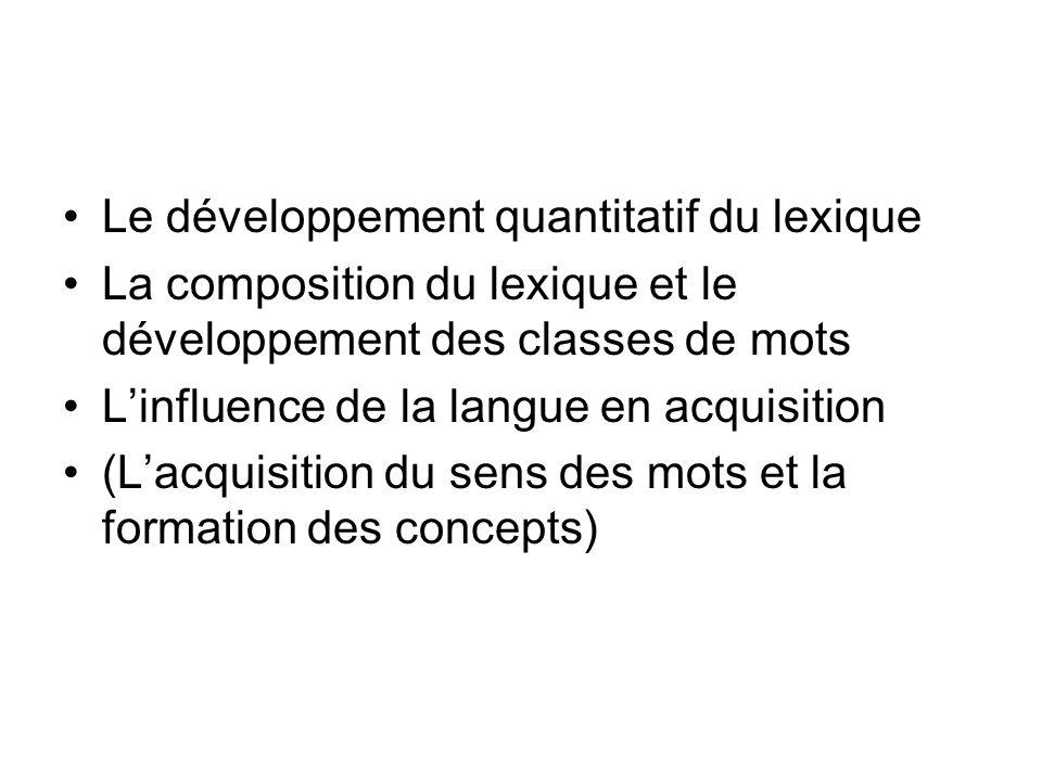 Le développement quantitatif du lexique