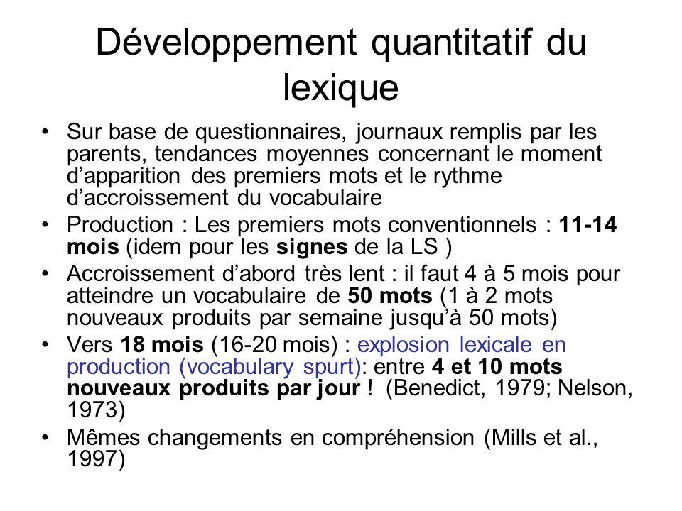 Développement quantitatif du lexique