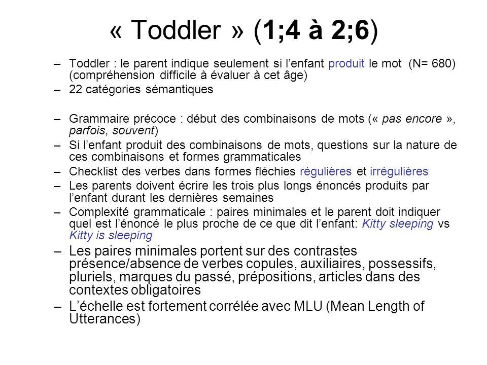 « Toddler » (1;4 à 2;6) Toddler : le parent indique seulement si l'enfant produit le mot (N= 680) (compréhension difficile à évaluer à cet âge)