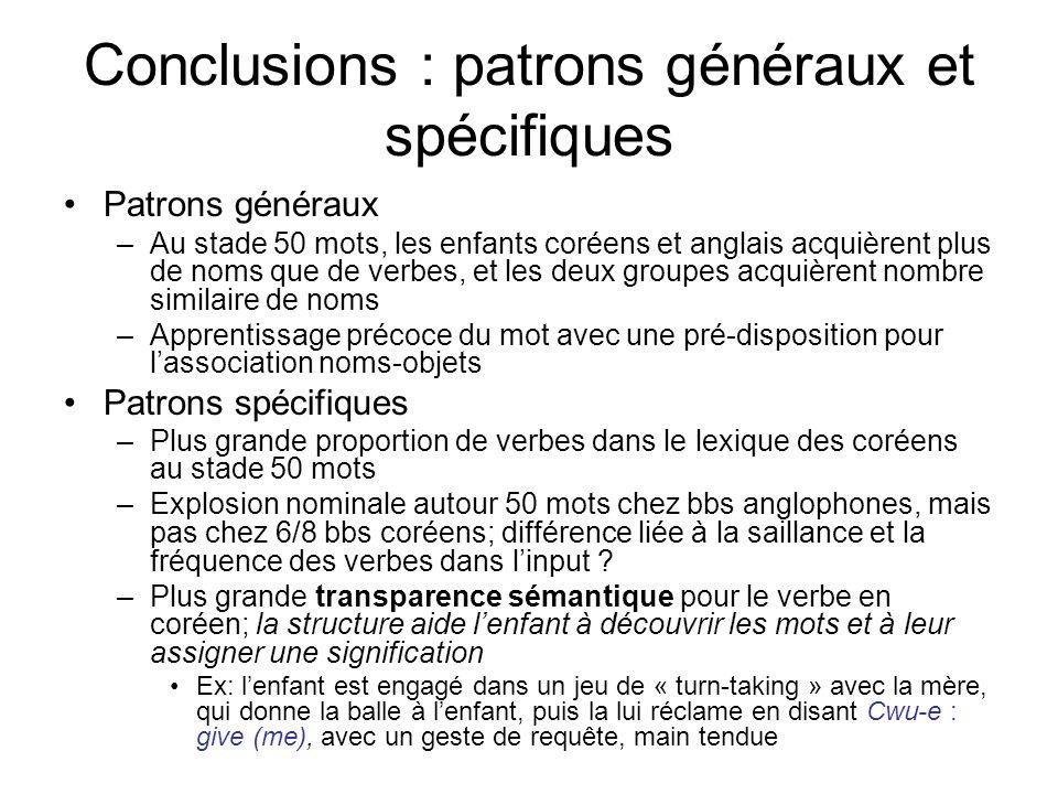 Conclusions : patrons généraux et spécifiques