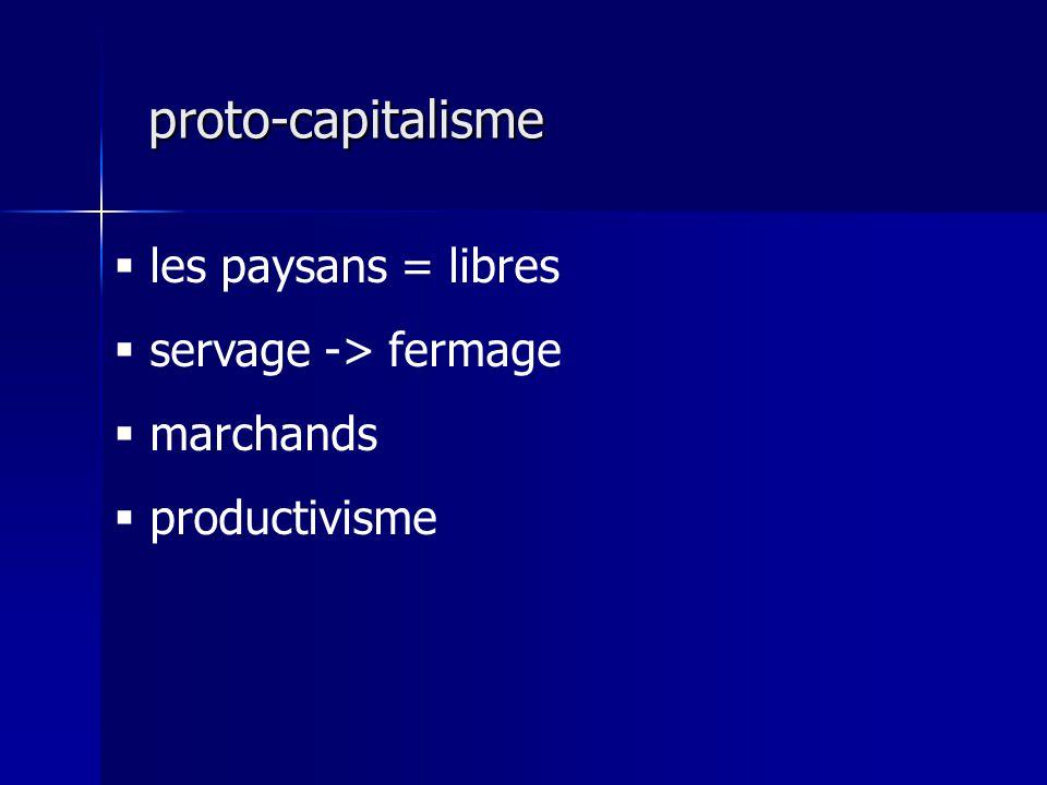 proto-capitalisme les paysans = libres servage -> fermage marchands