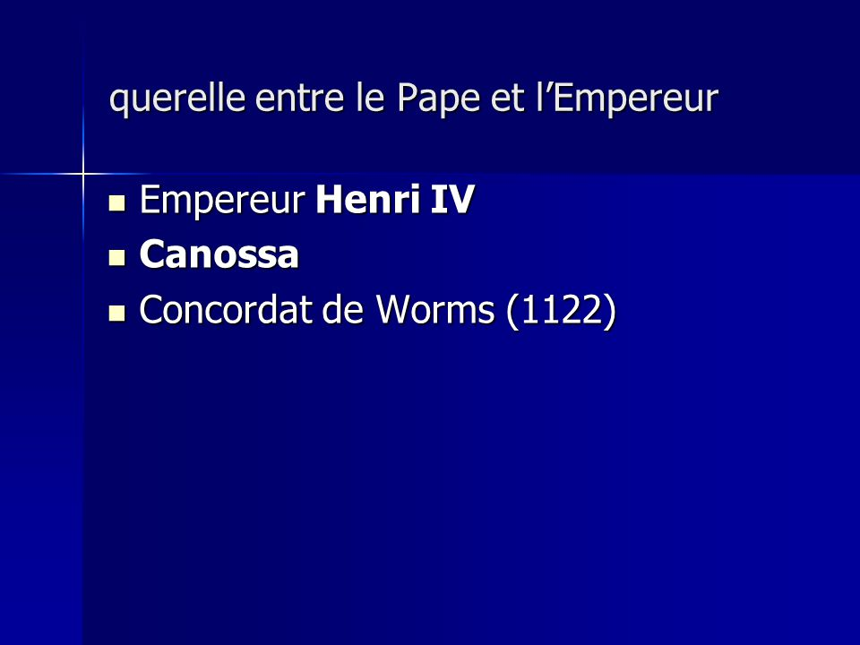 querelle entre le Pape et l'Empereur